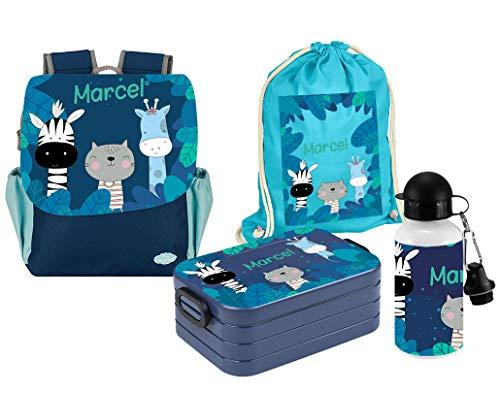 Mein Zwergenland | Personalisiertes Kindergartenrucksack-Set | Happy Knirps Next Print | Kinderrucksack, Lunchbox Maxi, Trinkflasche, Turnbeutel aus Baumwolle mit Name | Blau | Zebra Giraffe