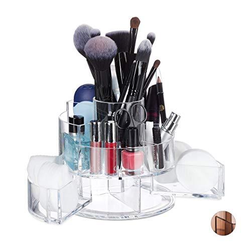 Relaxdays Kosmetik Organizer Acryl, rund, 9 Fächer, Schmink Aufbewahrung Make-Up, Nagellack,...