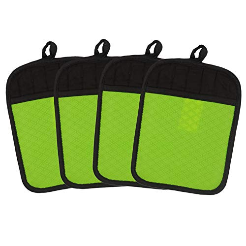 KOLODOGO Heat Resistant Pot Holders with Pocket, Kitchen Oven Mitts Silicone Hot Pads for Cooking|Double Side Silicone-Easy to Clean and Anti Slip (Green, 4)