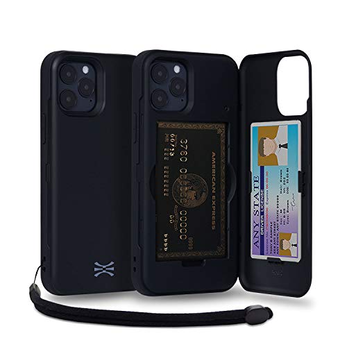 TORU CX PRO Compatible with iPhone 12 & iPhone 12 Pro Case - Protective Dual Layer Wallet with Hidden Card Holder + ID Card Slot Hard Cover, Strap & Mirror - Matte Black