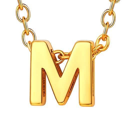 U7 イニシャルネックレスM レディース 18金メッキ ゴールド ペアネックレス シンプル 小さめ 鏡面 おしゃれ 大人可愛い アクセサリー 母の日プレゼント