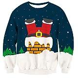 TUONROAD Christmas Sweatshirt Unisex Ugly 3D Impreso Sudadera di Navidad Divertida Crew Neck Manga Larga Jersey Suéter para Hombres Mujeres - XL