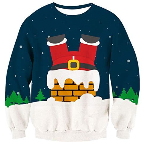 TUONROAD Donna Christmas Sweatshirt Babbo Natale 3D Stampato Ugly Xmas Pullover Uomo Crewneck Funny Sweater Maglione di Natale Unisex - L