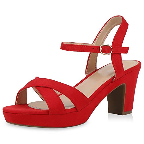 SCARPE VITA Damen Sandaletten Riemchensandaletten Blockabsatz Schuhe Wildleder-Optik High Heels Sandalen Party Sommer 192190 Rot Red 37