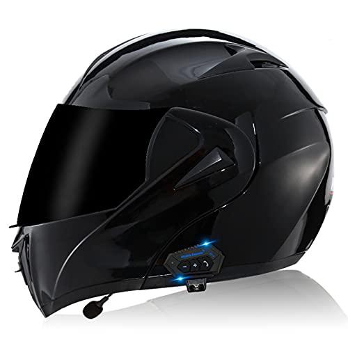 YUEZPKF Casco Moto Bluetooth Integrado,Cascos De Moto Scooter con Doble Anti Niebla...