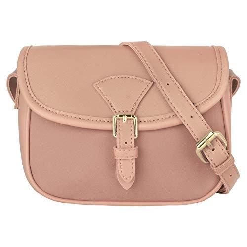 CRAZYCHIC - Damen Kleine Umhängetasche - Schultertasche PU Leder - Mini Messenger Crossbody Bag Citytasche - Frauen Satteltasche Handtasche - Einfache Elegante Tasche Abend Mode Reise - Rosa