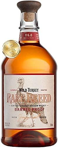 Wild Turkey Rare Breed Kentucky Bourbon Whiskey Americano con Toni di Tabacco Dolce e Sentori di Arancia e Menta, 58.4% Vol, Bottiglia in Vetro da 70 cl