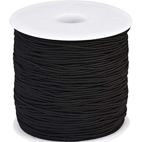 LILITRADE - Hilo elástico de 1 mm para Hacer Tus propias Pulseras y Collares elásticos adecuados para Manualidades, 100 Metros, Color Negro