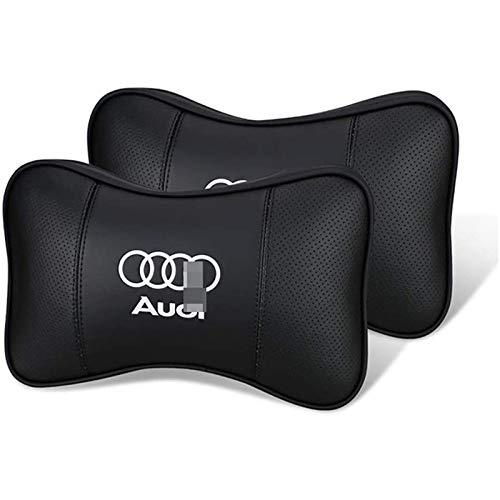 Mikowoo Unterstützen 2 Stück Auto-Kopfstütze Nackenkissen atmungsaktiv und bequem Auto-Sitzkissen Kopfstütze Unterstützung für Audi R8 S'line Q5 SQ5 S3 S4 A3, usw,Logo,10.6 * 6.7 in