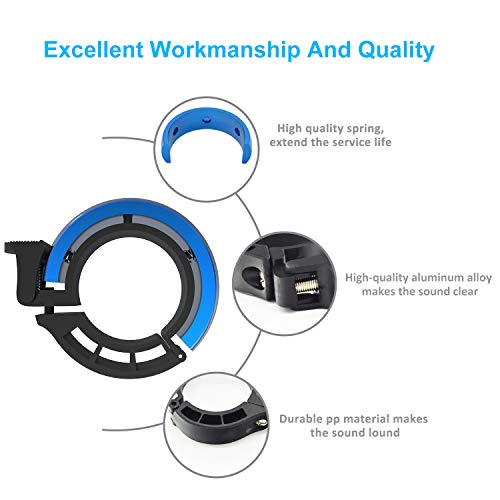 Sportout Aluminiumlegierung Innovative Fahrradklingel Fahrrad Ring mit Lauten Klaren Klaren Kla, für Lenker von 22,2 bis 31,8 mm(Black) - 4