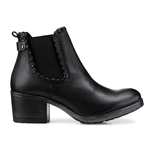 Cox Damen Chelsea-Stiefelette aus Leder, Stiefel in Schwarz mit rutschhemmender, gummierter Sohle Schwarz Glattleder 38