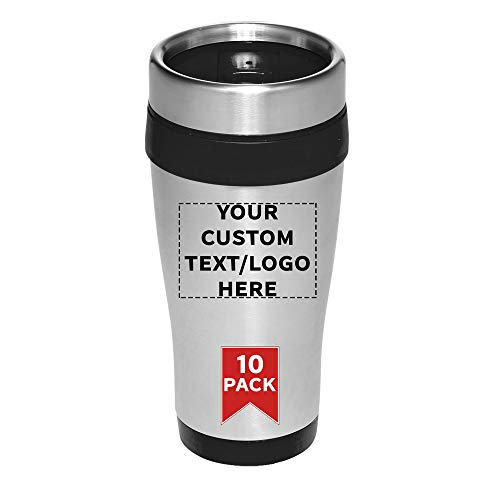 Travel Mugs - 16 oz. Insulated Stainless Steel Mug Coffee Cups - 10 pack - Customizable Text, Logo - Thermal Technology Keeps Your Drink Hot - Reusable Traveler To Go Cup - Black