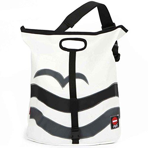 360° Tender Freizeittasche aus Segeltuch mit Schultergurt, Recycling Seesack Shopper Bag, Schultertasche Hobo Bag für Shopping und Strand, weiß, Logo Strand