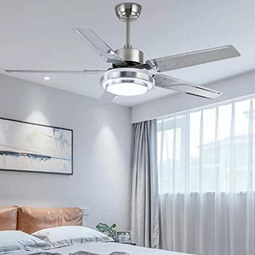 Ventilador de techo de acero inoxidable de estilo moderno, luz creativa, nodric, comedor, restaurante, ventilador, luz-Chrome_color_52_inch