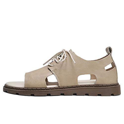 Sandalias para Hombre, Zapatos de Playa con Encaje de Cuero Casual, Zapatos de Playa de toald Hueco, Costuras de Grifo Plana Color sólido, Adecuado para Banquetes, Bodas, Trabajo, etc.