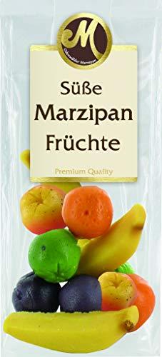 Marzipan Süße Früchte 100g i.Btl. / Banane / Apfel grün , rot / Pflaume / Orange /
