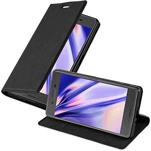 Cadorabo Hülle für Sony Xperia X in Nacht SCHWARZ - Handyhülle mit Magnetverschluss, Standfunktion & Kartenfach - Hülle Cover Schutzhülle Etui Tasche Book Klapp Style