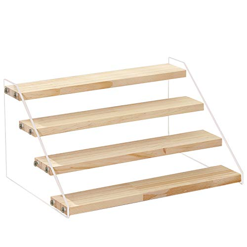 table display for vendors marunner Wood Display Stand, 4-Step Display Riser Wood Shelf Display Shelves for vendors,Pop Figures, Cupcakes, Perfumes or Candies