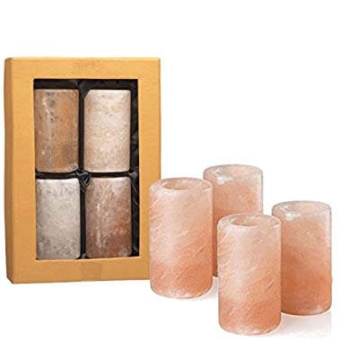 UmAid Pink Himalayan Salt Tequila Shot Glasses (Set of 4) Unique Barware 1.25-1.5 Ounces, Drinking Glass, Hand Carved Shooters Pure Himalayan Salt, Kosher FDA Certified Food Grade Salt