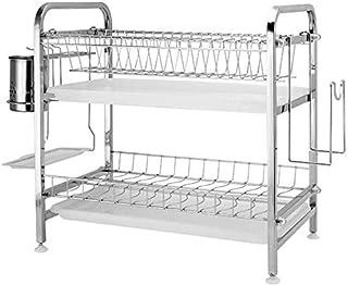 Égouttoir à vaisselle à 2 étages en acier inoxydable avec plateau et support pour couverts