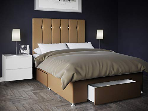 Bed Centre Kano Beige Plush Divan Set With Sprung Memory Foam Fibre Mattress, 1 End Drawer And Headboard (King (150cm X 200cm))