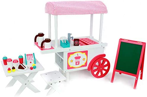 Playtime by Eimmie Doll Coffee Cafe Food Stand Food Cart Coffee Cart with Fun Accessories and product image