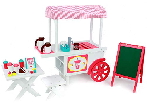 Playtime by Eimmie Doll Cafe - Food Cart and Doll Accessories - Food Stand for 18 Inch Doll