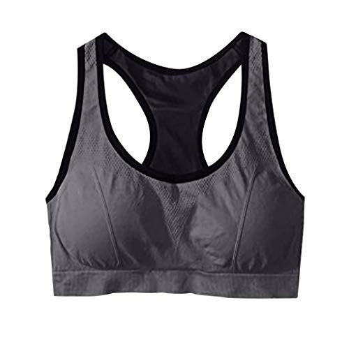 WOBANG Sujetador deportivo clásico para mujer, sin aros, para yoga, fitness y entrenamiento gris L