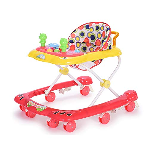 GUO@ Baby Walker 6-18 Meses Infantil Infantil Multifuncional Cochecito antivuelco Toddler Push Can Sitting con música Trolley (Color : Rosa roja)