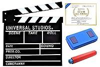 【POSITIVE】 映画撮影用 本格 ハリウッド 風 カチンコ 表は 映画 風裏は 黒板 として使える! オシャレ インテリア に! 保証書付き (7.(Aタイプ/通常 3点セット))