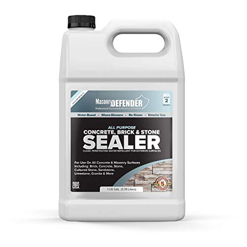 All Purpose Concrete, Brick & Stone Sealer, Clear Penetrating Water Repellent for Porous, Exterior, Brick, Concrete, Stone, Cultured Stone, Sandstone, Limestone & Granite Siloxane Sealer, 1 Gallon