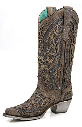 CORRAL E1569 Brown Grey Glitter Inlay and Studs Snip Toe Boots (10)