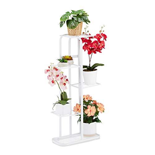 Relaxdays Blumentreppe Metall, Blumenständer mit 5 Ablagen, pulverbeschichtet, Pflanzregal, HBT 97 x 43,5 x 24,5cm, weiß