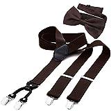 DonDon Tirantes para hombres ancho 3,5 cm en forma de Y, elásticos y ajustables en paquete de 2 con pajaritas adecuada 12 x 6 cm - Marron