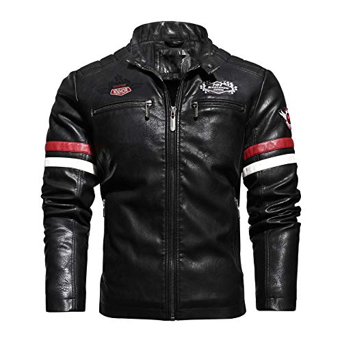 Cbyezy Stand-up collar men's motorcycle leather motorcycle racing suit color-blocking PU simulation leather jacket (Black 187, L)