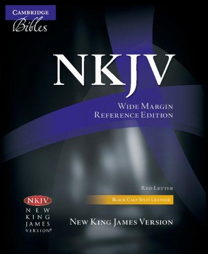 NKJV Wide Margin Reference Bible, Black Calf Split Leather, Red-letter Text, NK744:XRM