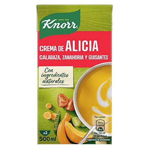 KNORR Crema Alicia, calabaza, zanahoria y guisantes, pack de 4 x 500 ml
