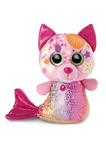 NICI 46825 Original-Glubschis Meerjungfrau Katze Aqua-Marie 15cm-Kuscheltier Augen – Flauschiges Plüschtier mit großen Glitzeraugen – Schmusetier für Kuscheltierliebhaber, PINK/BUNT