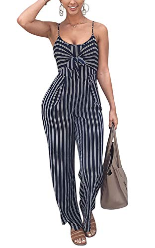 JINTING Women Spaghetti Strap Sleeveless Wide Leg Long Pants Cut Out Back Striped Casual Jumpsuit Romper Blue Medium