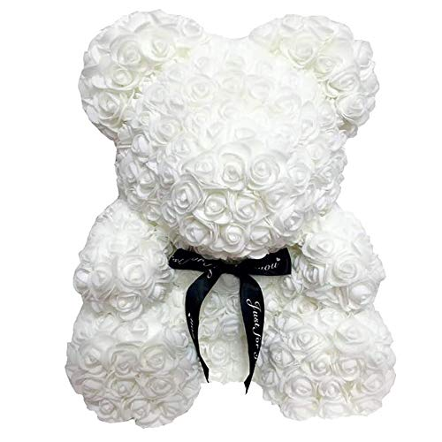 Valentine Kreative künstliche Rose Bär Geschenk handgemachte nette Seife Rosen Bär errichtet for Valentinstag, Jahrestag, Hochzeit, Geburtstag klassische (Color : White, Size : 25cm)