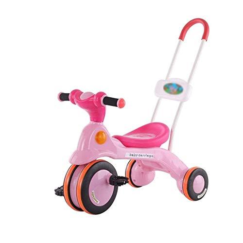 TQJ Cochecito de Bebe Ligero Triciclo For Niños, Empuje Junto Trike con La Manija De Los Padres |Mango Desmontable Convierte En Triciclo Triciclo con Pedales For Niños Pequeños Edad 3-6 Años