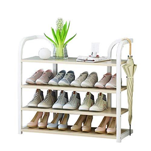 NYDZDM Schoenenrek, verticaal rek voor planten, 90 cm breed, organisator, wit ijzeren frame + houten plank, ideaal voor hal, badkamer, woonkamer en hal
