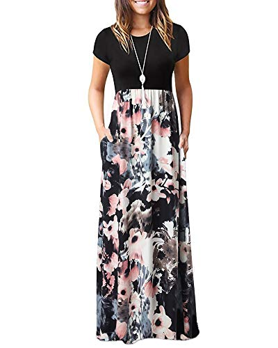 Zattcas Dress for Women Short Sleeve Maxi Summer Dresses with Pockets,Black Multi,Large