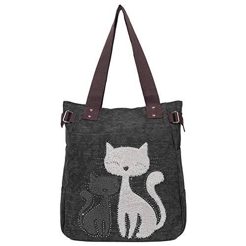 EGOGO Damen Schultertasche Canvas Henkeltasche Tasche Handtasche Niedliche Katzen Tasche E523-2 (Schwarz)