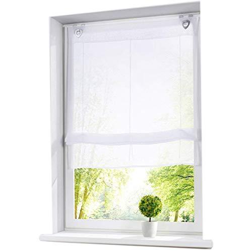 7Morning Weiß Raffrollo mit U-Haken Transparent Voile Ösenrollo Gardinen Vorhang BXH 45x130cm