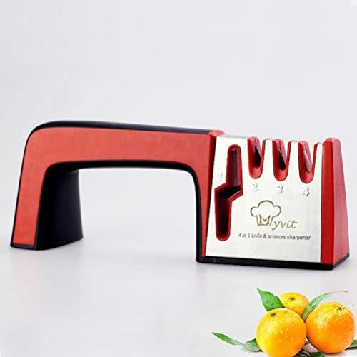 Afilador de tijeras de cocina de 4 pasos Piedra de afilar cuchillas de diamante amoladora profesional de tungsteno afilado de herramientas de piedra cerámica,rojo negro,como se muestra