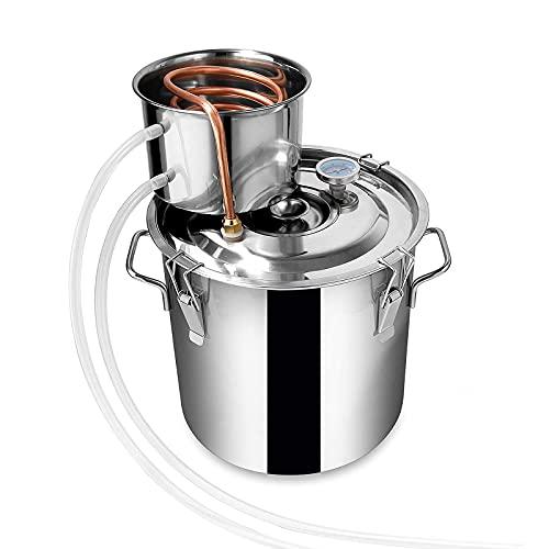 JIXIN Moonshine Still, destilador de Alcohol de Agua, Caldera de Bebidas espirituosas de Acero Inoxidable para Bricolaje con Tubo de Cobre,18l