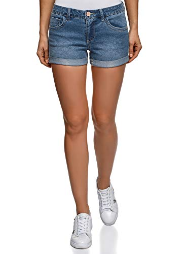 oodji Ultra Donna Pantaloncini in Jeans Basic, Blu, XL