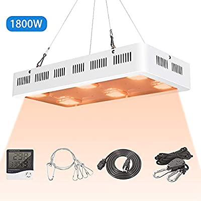 X6 1800W COB LED Grow Light UV Full Spectrum X6 COB LED Plant Light Dasiy Chain with On/Off Switch with Temperature and Humidity Monitor, Hanging Hook Kit, Adjustable Rope, White