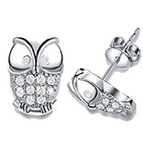 findout apple owl earrings women sterling silver freshwater pearls heart Cubic Zircons apple love owl earrings, for women girls children.(f1757) (owl)